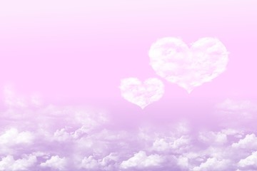 Couple cloud heart and pink background