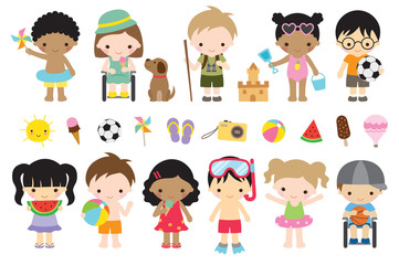 Vector illustration of cute summer kids with fun actives such as playing at the beach, camping, playing sports, having ice cream.