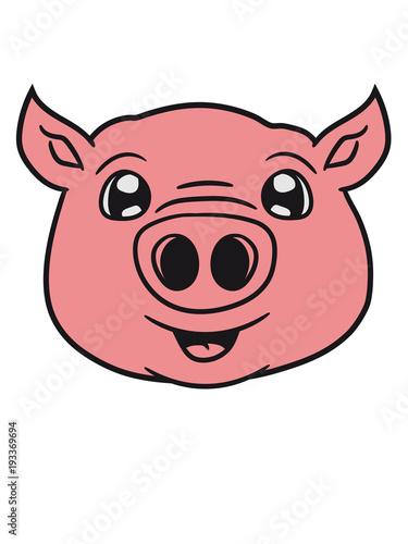 Schwein Gesicht Kopf Süß Niedlich Comic Cartoon Lachen Clipart