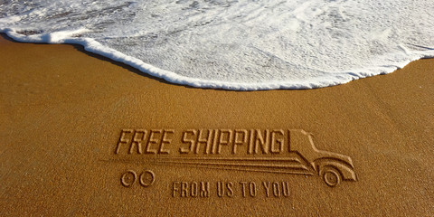 Free Shipping Text and Truck in the Beach Photo Image
