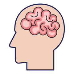 brain storming with head profile vector illustration design