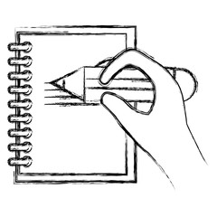 hand writing with pencil in notebook vector illustration design