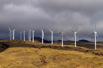 A wind farm rises above Honoapillani Highway 30 as it passes along Papawai Point on Maalaea Bay on the northwest coast of Maui, shot made from a boat in the bay