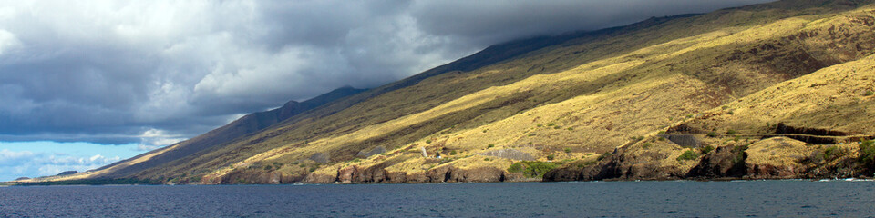 Panorama of Papawai Point, a popular whale-watching spot on Maalaea Bay on the northwest coast of Maui in Hawaii, shot from a boat in the bay