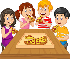 Cartoon kids eating pizza together