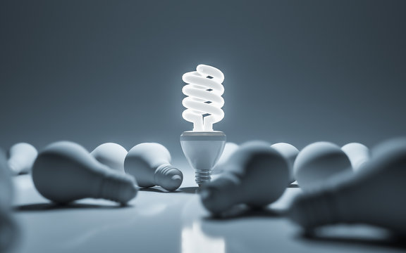 One glowing compact fluorescent lightbulb standing. 3D rendering.
