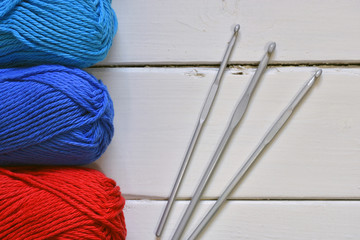 Red and Blue Crochet Yarn and Hooks