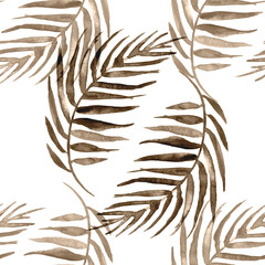 Watercolor seamless background, monochrome. Watercolor Palm leaf background. sepia, brown leaves, silhouette, floral pattern on a white background. tropical palm leaf.