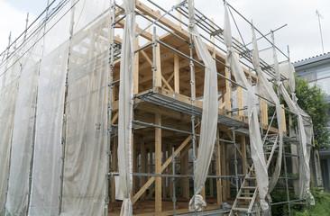 木造2階建て住宅 建設現場 イメージ