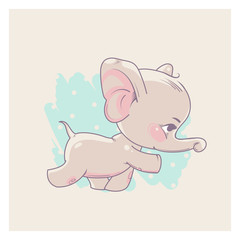 Cute little newborn baby elephant girl learning to walk. Cartoon character of baby girl of 3-9 months. Happy smiling toddler. Pastels color vector illustration.