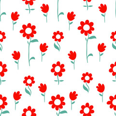 Vector Floral Pattern Design, hand drawn lovely flowers, cute contemporary seamless background and print for kids and babies cloth design
