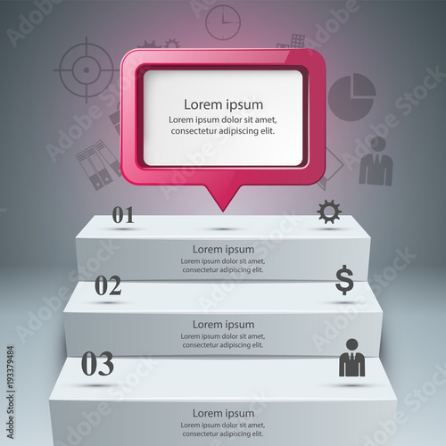 Quot 3d Infographics And Business Ladder Dialog Speech Bulb