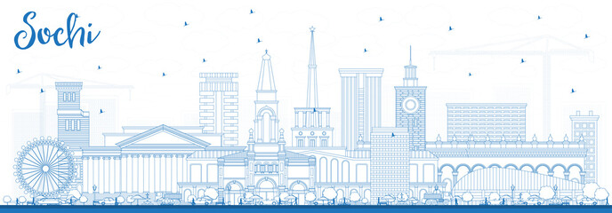 Outline Sochi Russia City Skyline with Blue Buildings.