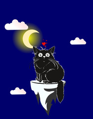 Cartoon illustration. A loving cute cat under the moon.