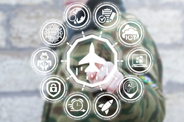 Soldier using virtual interface presses fighter button. Modern Army Flying Unmanned Robotics Technology. Military Jet Plane, Warplane, Reactive Plane Precision Weapons concept.