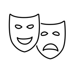 Sad and Happy Theatrical Drama and Comedy Masks
