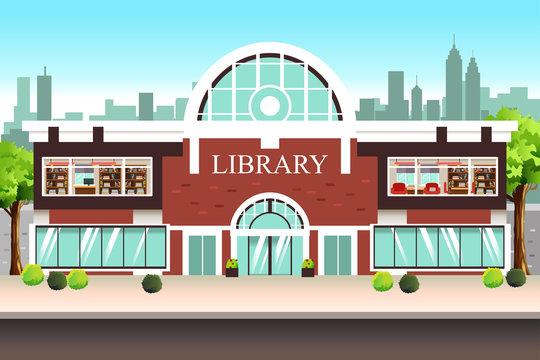 Public Library Building Illustration