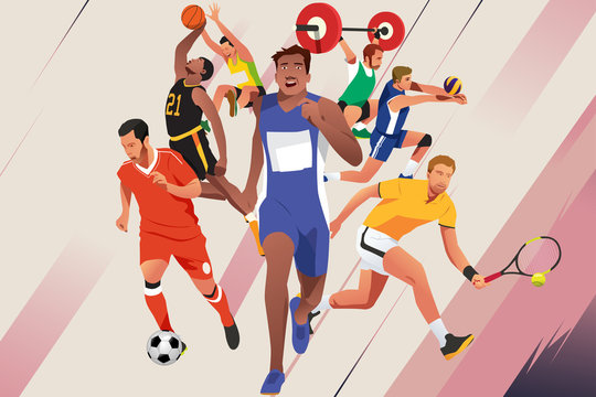 Athletes in Different Sports Poster Illustration