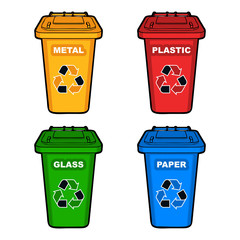four different colored recycling