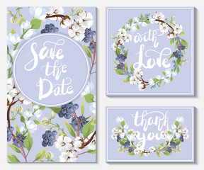 Save the date. A set of wedding cards and invitations with delicate cotton flowers and blue berries
