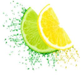 lime and lemon juice splash isolated on white