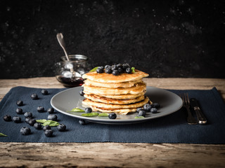 fluffy blueberry pancakes ready to eat