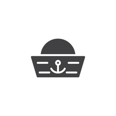 Sailor hat vector icon. filled flat sign for mobile concept and web design. Forage-cap simple solid icon. Symbol, logo illustration. Pixel perfect vector graphics