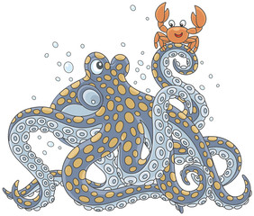 Big spotted octopus talking with a funny small crab, a vector illustration in a cartoon style