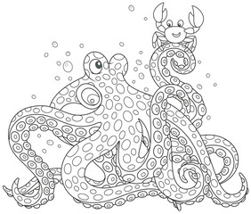 Big spotted octopus talking with a funny small crab, a black and white vector illustration in a cartoon style for a coloring book