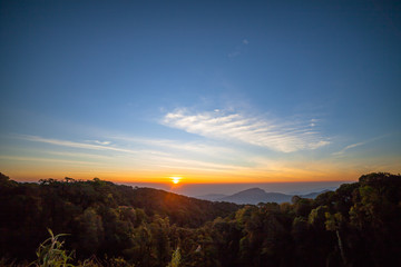 Doi Intanon is a landmark on the highest mountain of Thailand in Chiang Mia province.  Many tourists will visit beautiful scenery of sunrise and mist. the weather always cool