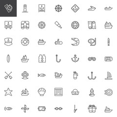 Nautical outline icons set. linear style symbols collection, line signs pack. vector graphics. Set includes icons as lighthouse, anchor, lifejacket, submarine, boat, ship, marine