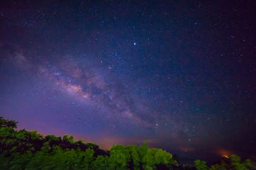 Dark Sky Certification Milky way on over Doi Inthanon the highest mountain of Thailand in Chiang Mia province. Many tourists will visit beautiful scenery of sunrise and mist. the weather always cool