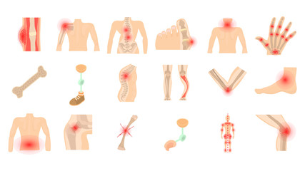 Human bones icon set, cartoon style