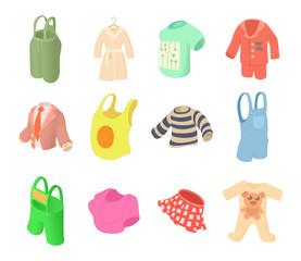 Clothes icon set, cartoon style