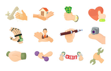 Object in hand icon set, cartoon style