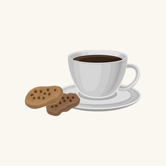 Cup of fresh coffee and two delicious cookies with chocolate chips. Sweet food and drink. Traditional breakfast. Good morning concept. Cartoon flat vector design