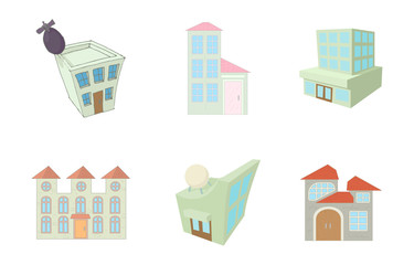 Sky buildings icon set, cartoon style