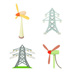 Electrical tower icon set, cartoon style