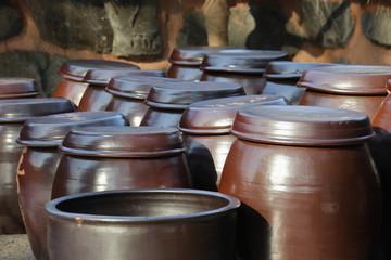 """Traditional Korean pot for sauces or Kimchi. """"Hang-A-Ri"""". Nami Island, Gapyeong-gun, Korea"""
