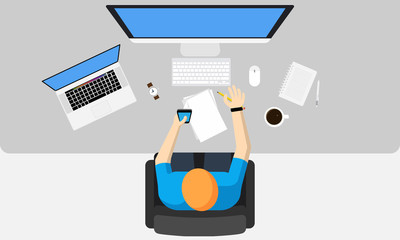Man workspace with computer monitor, laptop and stationery - top view. Vector illustration