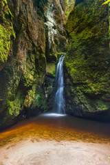 Waterfall in Adrspach-Teplice Nature park in Czech