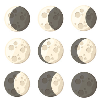 Set of different moon phases space object natural satellite of the earth vector illustration isolated on white background web site page and mobile app design