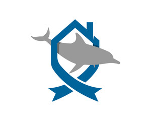 dolphin fish silhouette blue house home image vector icon