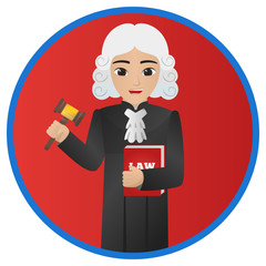 Male Judge Holding Gavel and Red Book of  Law
