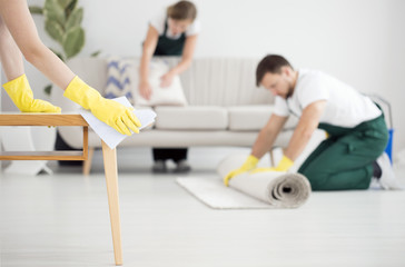 Professional cleaning crew at work