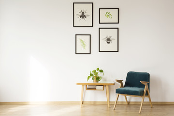 Bright flat interior with artwork