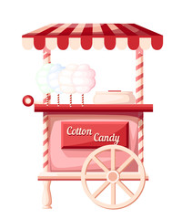 Pink cotton candy cart kiosk on wheels portable store idea for festival vector illustration isolated on white background web site page and mobile app design