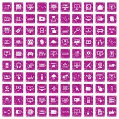100 computer icons set grunge pink