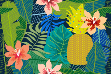 Colorful tropical background with monstera, palm and banana leaves and flowers.