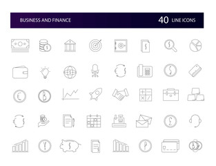 Line icons set. Business and FInance pack. Vector illustration